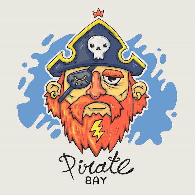 Cabeza de pirata de dibujos animados Vector Premium