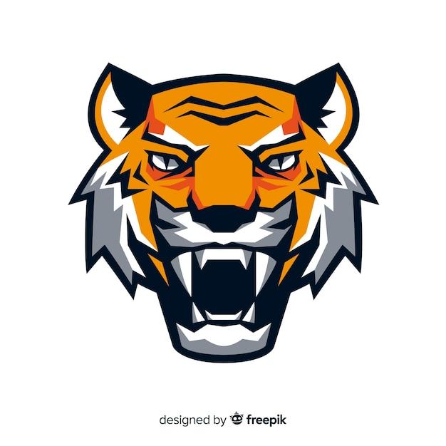 Cabeza de tigre en diseño plano Vector Premium