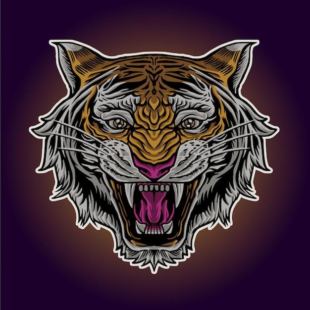 Cabeza de tigre enojado Vector Premium