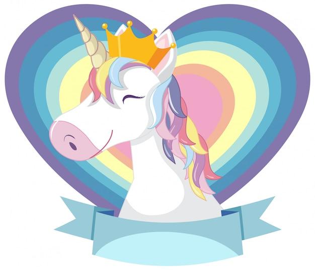 Cabeza de unicornio con melena de arco iris y cuerno sobre fondo blanco. Vector Premium