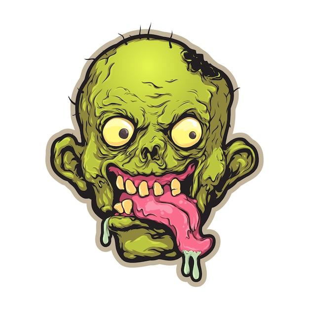 Cabeza de zombie de dibujos animados Vector Premium