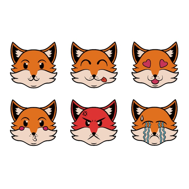 Cabeza del zorro emoji en estilo pop art Vector Premium