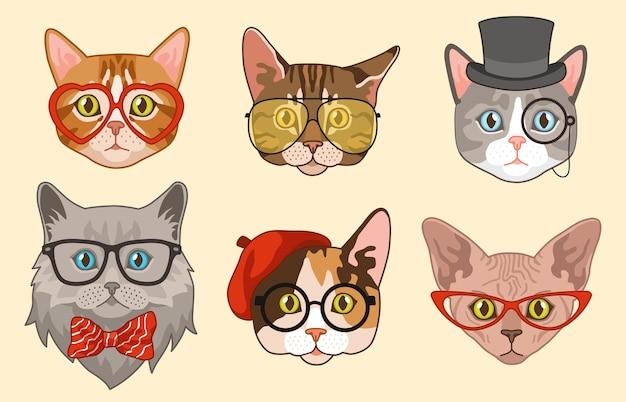 Cabezas de gato. bozales de avatar de gatos graciosos lindos con accesorios, gafas y sombreros, pajarita. mascotas felices hipster dibujando personajes animales modernos Vector Premium