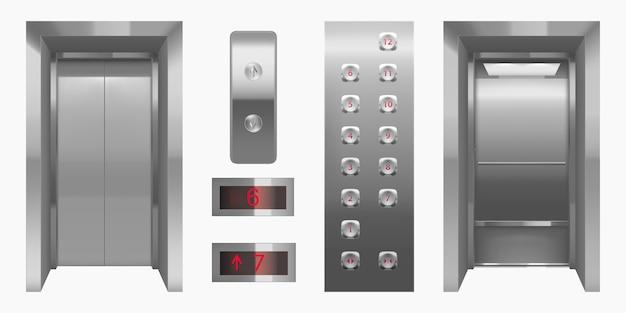 Cabina de ascensor realista con puertas cerradas y abiertas. vector gratuito