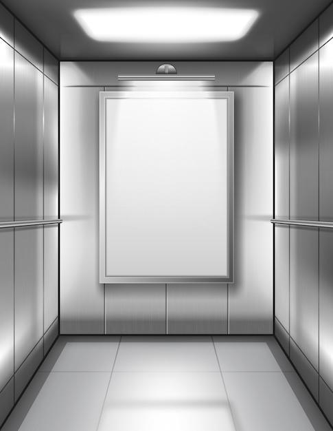 Cabina de ascensor vacía con cartel en blanco vector gratuito