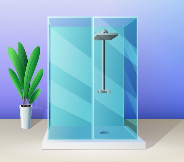 Cabina de ducha moderna y planta de interior en estilo plano, ilustración de baño. Vector Premium