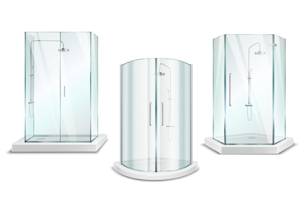 Cabina de ducha realista colección 3d con unidades de ducha brillante aislado con puertas en blanco vector gratuito