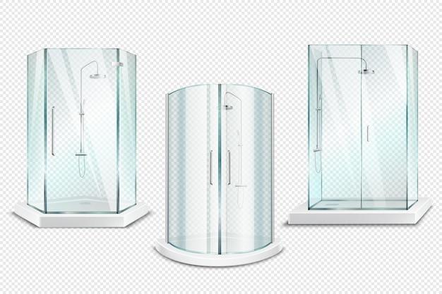 Cabina de ducha transparente colección realista en 3d de duchas aisladas con puertas brillantes en transparente vector gratuito
