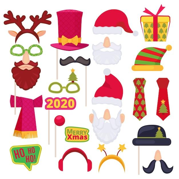 Cabina de fotos navideña. santa máscara sombrero muñeco de nieve año nuevo copos de nieve decoración de disfraces de vacaciones. dibujos animados s Vector Premium