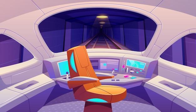 Cabina de tren con panel de control y sillón vector gratuito