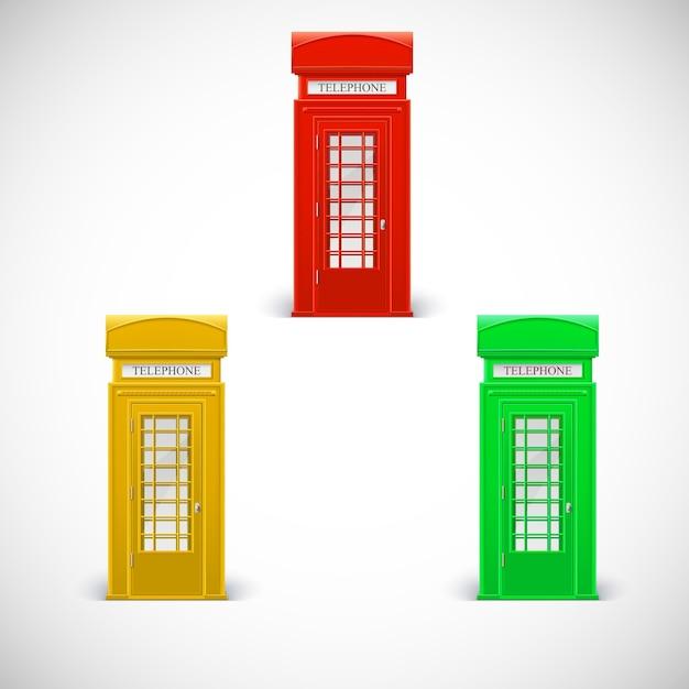 Cabinas telefónicas de colores, estilo londinense. Vector Premium