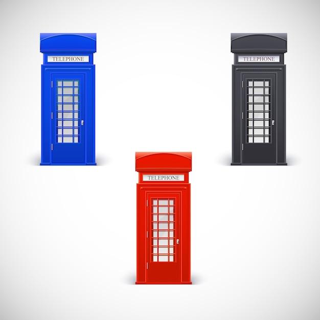 Cabinas telefónicas de colores, estilo londone. aislado en un fondo blanco Vector Premium