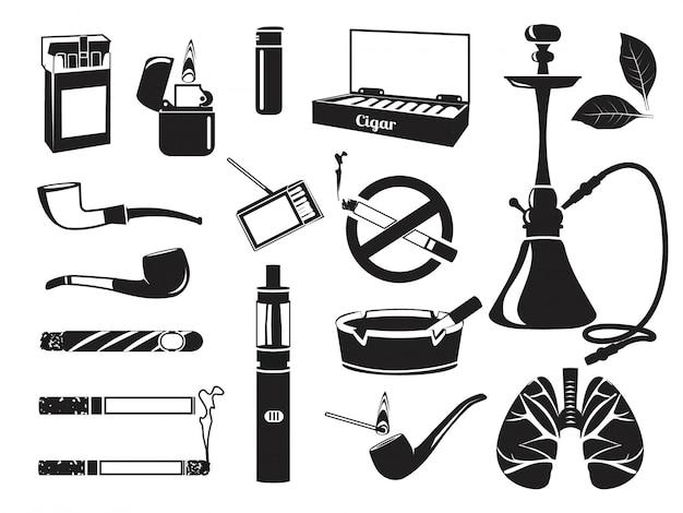 Cachimba monocromática, hojas de tabaco, cigarrillos y otras herramientas para fumadores. Vector Premium