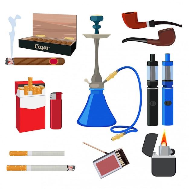 Cachimba, tabaco, cigarrillos y otras herramientas diferentes para fumadores. Vector Premium