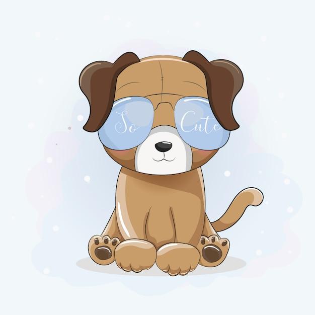 907b43dd7b Cachorro fresco de dibujos animados lindo con gafas de sol Vector Premium