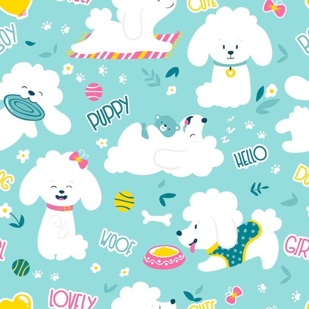 Cachorros de patrones sin fisuras. perros caniche pequeños blancos divertidos en una rutina diaria. ilustración Vector Premium