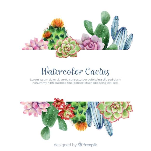 Cactus en acuarelas con cartel vector gratuito