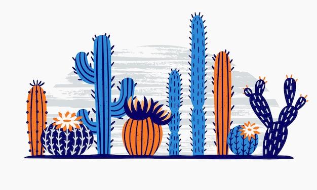 Cactus del desierto mexicano. flor de cactus, plantas exóticas de jardín y flores de cactus tropicales aisladas Vector Premium