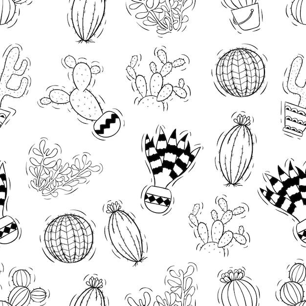 Cactus dibujado a mano de patrones sin fisuras Vector Premium