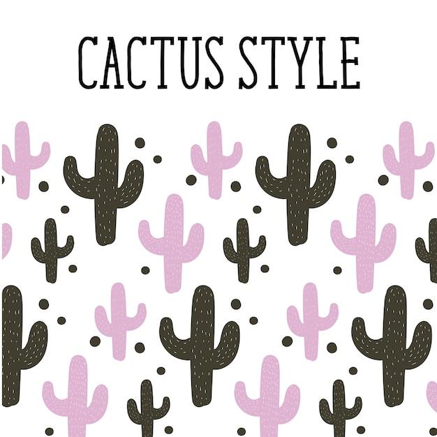 Cactus estilo fondo patrón lindo Vector Premium