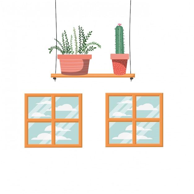 Cactus con macetas en estante Vector Premium