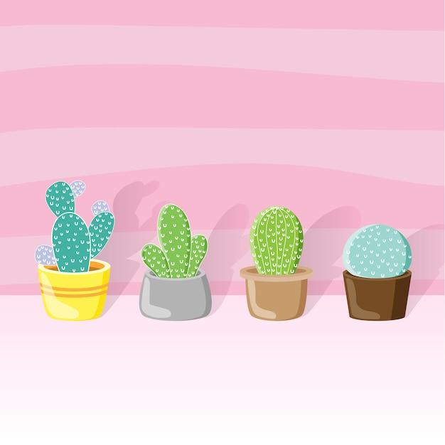 Cactus en una olla todo estilo y diseño de papel tapiz color rosa. Vector Premium