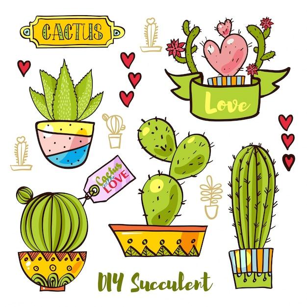 Cactus Y Suculentas En Macetas Descargar Vectores Premium