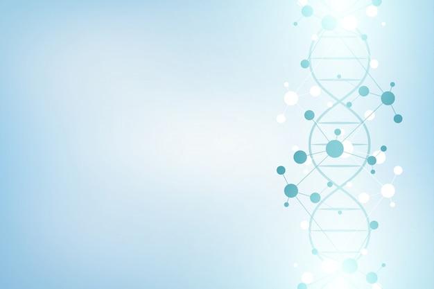 Cadena de adn y estructura molecular. ingeniería genética o investigación de laboratorio. Vector Premium