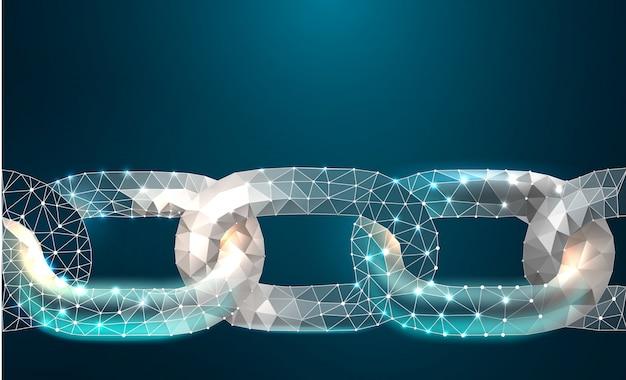 Cadena blockchain enlace signo low poly diseño internet tecnología cadena Vector Premium