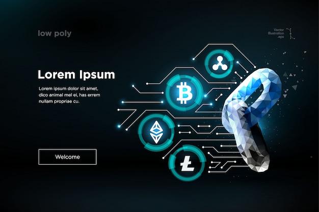 Cadena. tecnología blockchain. ethereum bitcoin ripple coin criptomoneda digital. tecnología de minería de información de big data Vector Premium
