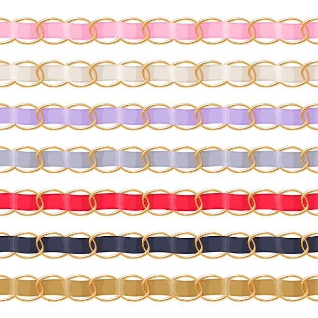 Cadenas de oro con cepillo de cinta de tela roscada de colores. bueno para collar, pulsera, accesorio de joyería. Vector Premium