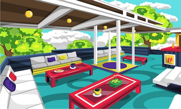 Café en la azotea al aire libre con sofá acogedor Vector Premium