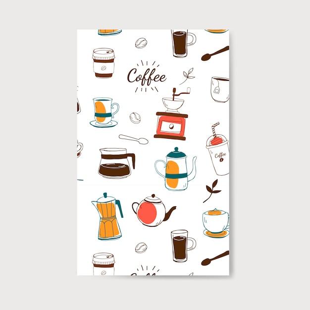 Café y café patrón vector vector gratuito
