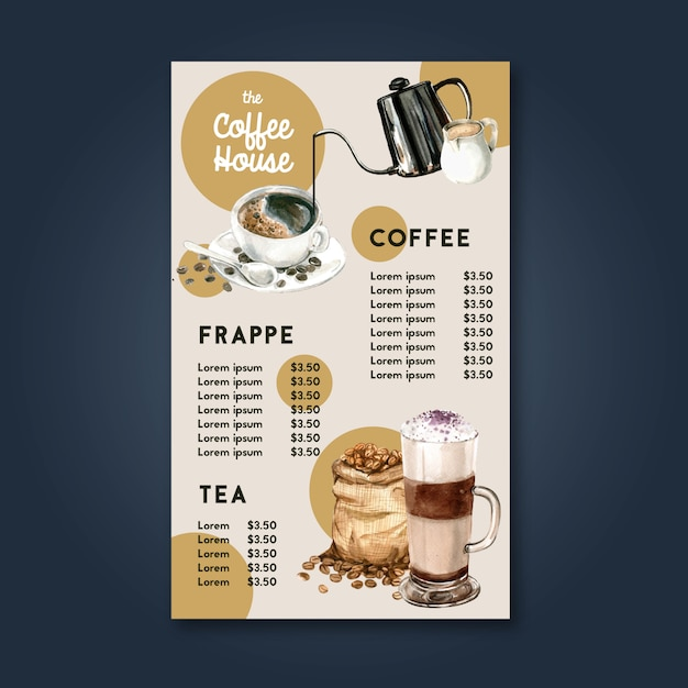 Café de la cafetería menú americano, capuchino, menú de espresso, infografía, ilustración acuarela vector gratuito