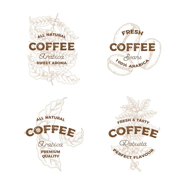 Café. conjunto de logotipos vintage dibujados a mano. emblema de botánica. estilo de boceto. Vector Premium