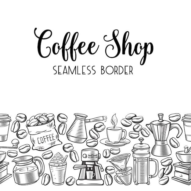 Café sin costuras Vector Premium