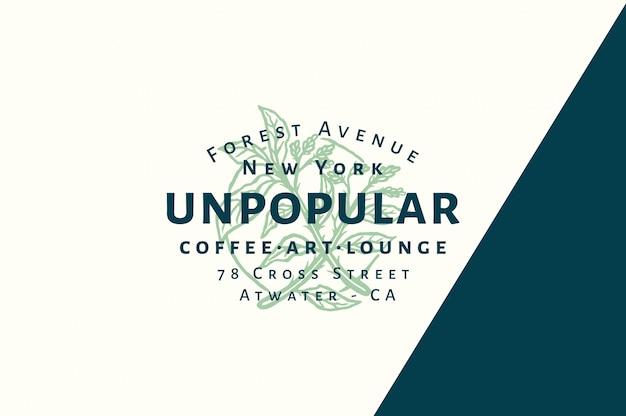Café impopular - arte - logotipo de salón totalmente editable con color Vector Premium