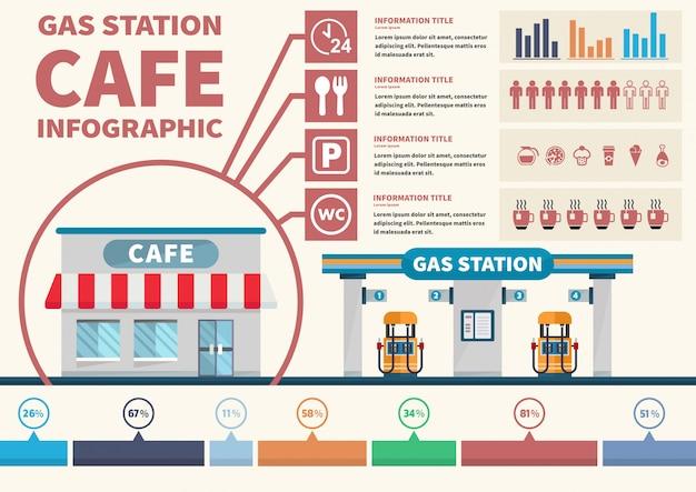 Café infografía en vector de gasolinera Vector Premium
