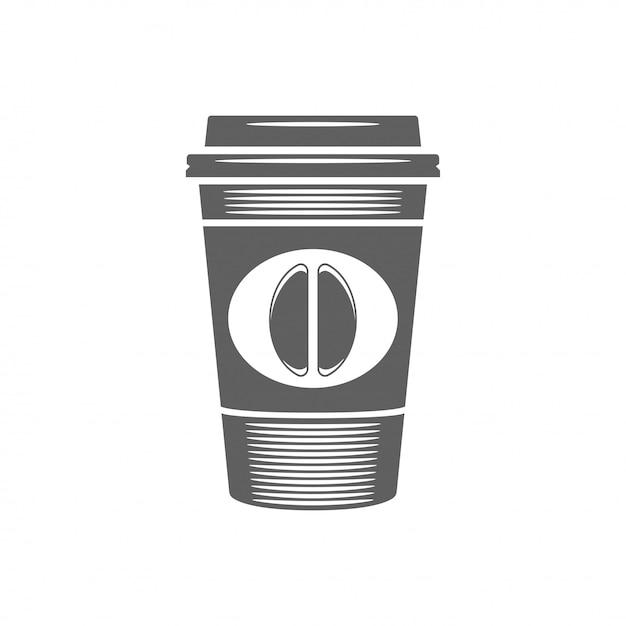 Café para ir taza con la ilustración de vector de frijol. silueta de la taza de café aislada en el fondo blanco. Vector Premium