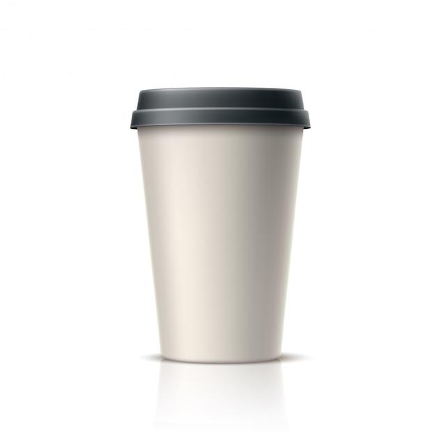 Café realista, té en vaso de papel desechable Vector Premium