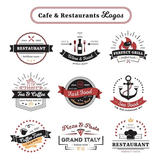 Cafe y restaurante logotipos de diseño vintage con cubiertos y comidas. vector gratuito