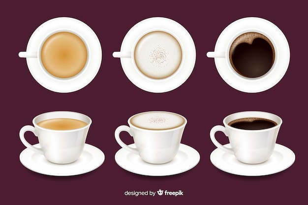 Café en tazas vector gratuito
