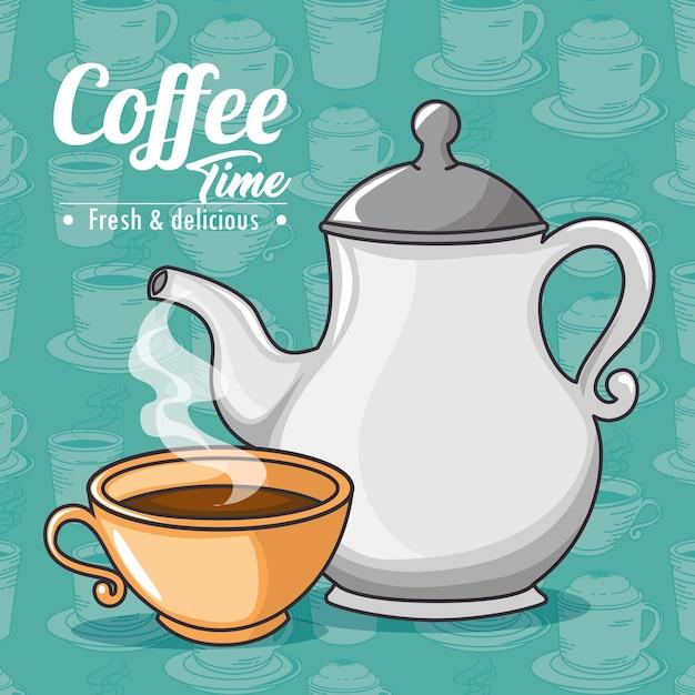 Cafetera y taza de café de diseño | Vector Premium