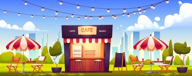 Cafetería al aire libre, cabina de verano en el parque, comida callejera vector gratuito