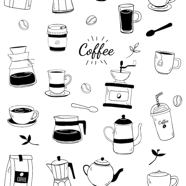 Cafetería y café con dibujos vectoriales de fondo vector gratuito