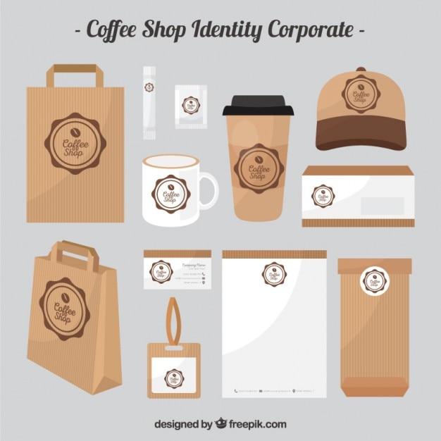 Cafetería de cartón de identidad corporativa vector gratuito
