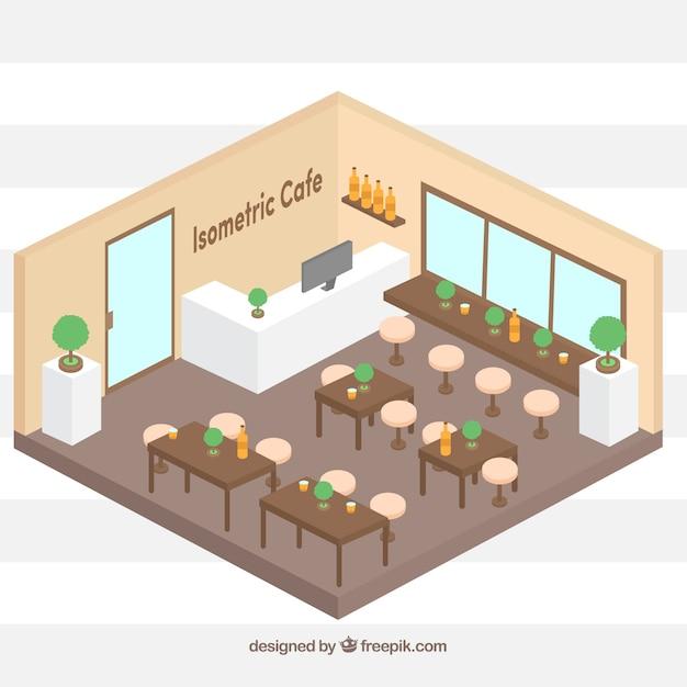3d Floor Plan Isometric: Cafetería Colorida En Perspectiva Isométrica