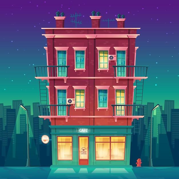 Cafetería de veinticuatro horas en un apartamento residencial de varias plantas por la noche vector gratuito