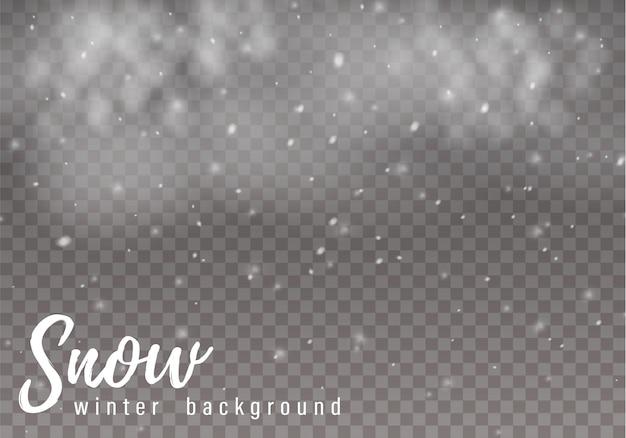 La caída de nieve de navidad. copos de nieve, fuertes nevadas. Vector Premium