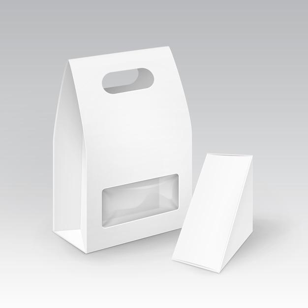 Caja de almuerzo de la manija para llevar del triángulo del rectángulo de la cartulina en blanco blanco que empaqueta para el bocadillo Vector Premium